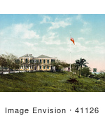#41126 Stock Photo Of A Flag Outside The Governor's Residence In Nassau, Bahama Islands by JVPD