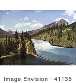 #41135 Stock Photo Of Bow River Waterfalls In Banff National Park Alberta Canada
