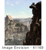 #41169 Stock Photo Of A Daring Group Of Men On A Rock Cliff At Glacier Point And South Dome With A View Of Half Dome Yosemite National Park California