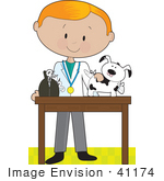 #41174 Clip Art Graphic Of A Red Haired Male Caucasian Veterinarian  Treating An Injured Puppy