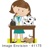 #41175 Clip Art Graphic Of A Female Caucasian Veterinarian With A Cat At Her Feet And A Bird On Her Shoulder Treating An Injured Puppy