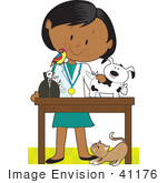 #41176 Clip Art Graphic Of A Female Latina Or African American Veterinarian With A Cat At Her Feet And A Bird On Her Shoulder Treating An Injured Puppy