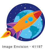 #41197 Clip Art Graphic Of A Purple Orange Blue And Red Space Shuttle Flying Through Outer Space With Earth In The Distance