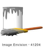 #41204 Clip Art Graphic Of A Paintbrush Beside A Dripping Can Of Gray Paint