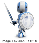 #41218 Clip Art Graphic Of A 3d Blue And White Robot With A Sword And Shield