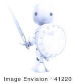 #41220 Clip Art Graphic Of A 3d Glowing Robot With A Sword And Shield