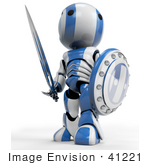 #41221 Clip Art Graphic Of A 3d Blue And White Robot Looking Up And Away While Standing With With A Sword And Shield