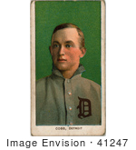 #41247 Stock Illustration of a Vintage Baseball Card Of Detroit Tigers Baseball Player, Ty Cobb, Over Green by JVPD