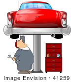 #41259 Clip Art Graphic Of A Caucasian Male Auto Mechanic Under A Red Classic Car Up On A Lift In A Garage