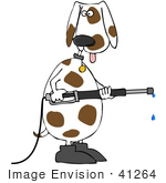 #41264 Clip Art Graphic Of A Spotted Dog Using A Pressure Washer