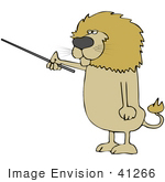 #41266 Clip Art Graphic Of A Male Lion Instructing With A Pointer Stick