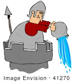 #41270 Clip Art Graphic Of A Guard Atop A Tower Dumping Water Down Below On Intruders