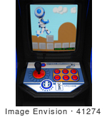 #41274 Clip Art Graphic Of A Arcade Game Screen With A Blue Pixelated Ao-Maru Robot Conquering Obstacles