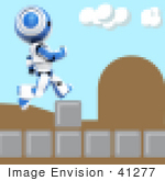 #41277 Clip Art Graphic Of A Pixelated Video Game Screen With A Blue Pixelated Ao-Maru Robot Conquering Obstacles