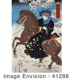 #41286 Stock Illustration of a Japanese Person Riding Sidesaddle On A Brown Horse Through The Snow by JVPD