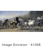 #41308 Stock Illustration Of Men Walking With And Riding Black Brown And White Horses At A Horse Fair