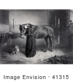 #41315 Stock Illustration Of A Woman Reeding And Leaning Against A Horse While A Dog Watches And A Kitten Plays A Man Standing In The Background