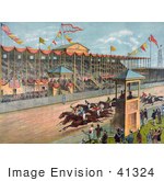 #41324 Stock Illustration Of Excited Crowds Watching A Horse Race At The Brighton Beach Race Course In New Jersey