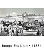 #41334 Stock Illustration Of A Group Of People Watching From The Sidelines Of A Horse Race