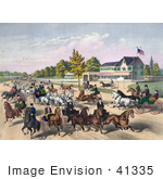 #41335 Stock Illustration Of A Busy Street Scene Of Horses And Carriages On A Road Near A Building