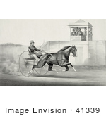 #41339 Stock Illustration Of A Group Of Men In A Tower Watching A Man Race A Horse
