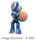 #41358 Clipart Illustration Of A 3d Blue Ao-Maru Robot Holding And Looking Down At An Orange Planet Or Ball