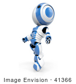 #41366 Clipart Illustration Of A 3d Blue Ao-Maru Robot Leaning Back And Looking Up While Floating
