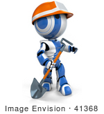 #41368 Clipart Illustration Of A 3d Blue Ao-Maru Robot In A Hardhat Walking With A Shovel
