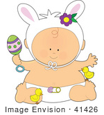 #41426 Clip Art Graphic Of An Easter Baby With A Rattle Chicks And Bunny Ears