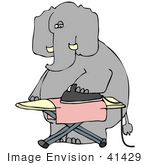 #41429 Clip Art Graphic Of A Dry Cleaning Elephant Ironing A Cloth
