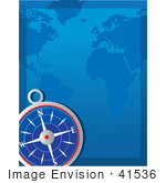 #41536 Clip Art Graphic Of A Navigational Compass And A Blue Map