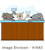 #41643 Clip Art Graphic Of Brown Pooches Drinking And Soaking In A Hot Tub