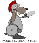 #41644 Clip Art Graphic Of A Brown Pooch Warrior With A Shield And Sword