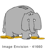 #41660 Clip Art Graphic Of A Gray Elephant Coin Bank