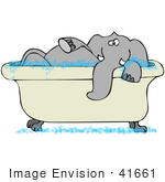 #41661 Clip Art Graphic Of A Gray Elephant Taking A Bubble Bath