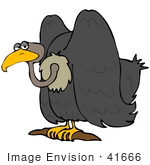 #41666 Clip Art Graphic Of A Gloomy Perched Vulture