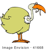 #41668 Clip Art Graphic Of A Yellow Bird Eating A Worm