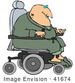 #41674 Clip Art Graphic Of A Robed Senior Man Racing Around In His Power Chair