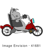 #41681 Clip Art Graphic Of A Cool Donkey Biker On A Motorcycle
