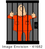 #41682 Clip Art Graphic Of A Jailed Man Holding Onto Bars In A Jail Cell