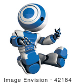 #42184 Clip Art Graphic Of A Blue Futuristic Robot Looking At His Hand