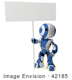 #42185 Clip Art Graphic Of A Blue Futuristic Robot Standing With A Blank Sign