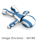 #42188 Clip Art Graphic Of A Blue Futuristic Robot Laying Flat On His Face
