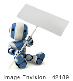 #42189 Clip Art Graphic Of A Blue Futuristic Robot Sitting With A Sign