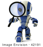 #42191 Clip Art Graphic Of A Blue Futuristic Robot Inspecting