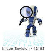 #42193 Clip Art Graphic Of A Blue Futuristic Robot Researching Binary Code