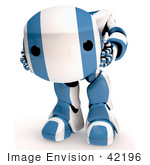 #42196 Clip Art Graphic Of A Blue Futuristic Robot Holding His Head