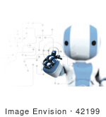 #42199 Clip Art Graphic Of A Blue Futuristic Robot Entering A Code
