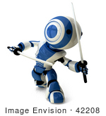 #42208 Clip Art Graphic Of A Blue Futuristic Robot With Katana Swords