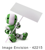 #42215 Clip Art Graphic Of A Green Futuristic Robot Sitting With A Sign